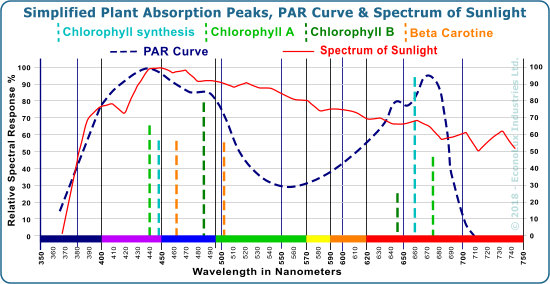 The PAR curve coampared to the spectrum of sunshine